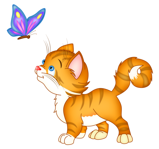 Котенок с бабочкой рисунок - Клипарт с животными ...